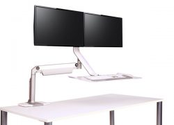 HUMANSCALE QUICKSTAND LITE DUAL CLAMP WHI